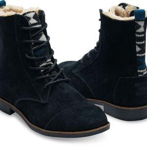 TOMS Black Water Resistant Suede Textile Alpa Boot
